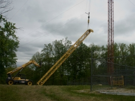 Top half of lift pole ready to go up the tower